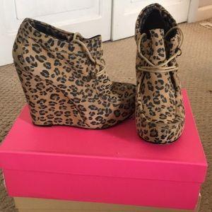 Cheetah bootie wedges